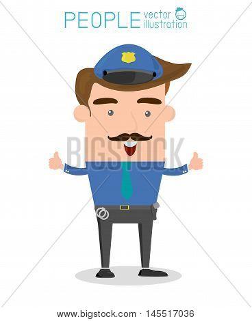 Policeman, Vector Illustration, Police, Policeman,Serious cartoon police officer policeman
