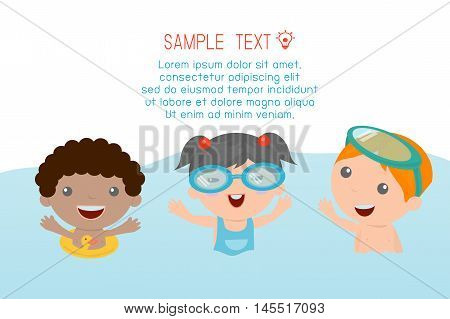 kids on the beach , kids playing outside, Vector Illustration.