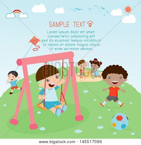 kids at playground, kids time. kids at playground, kids time.isolated on white background,Children playing in the playground, Vector Illustration.