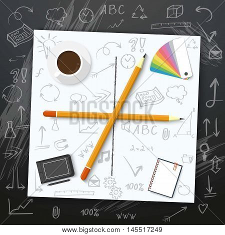 Illustration of Welcome Back to School Vector Mockup. White Notepad on Writing Chalk Board with Handdrawn Icons