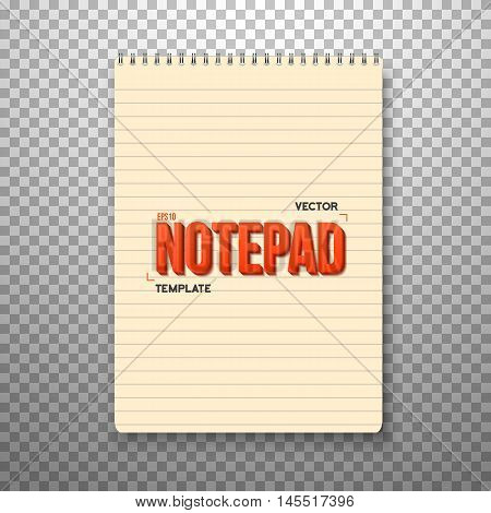 Illustration of Realistic Vector Notepad Office Equipment. Yellow Paper Notepad Isolated on Transparent PS Style Background