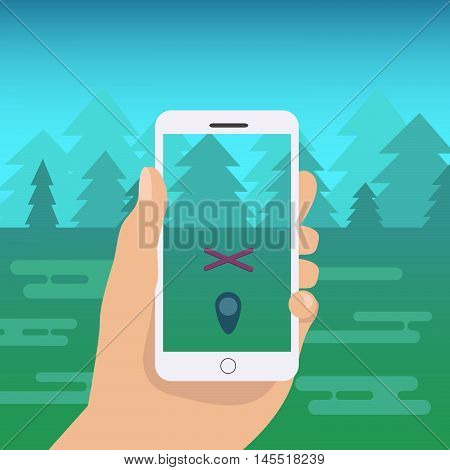 Flat mobile phone vector illustration. Hand holding mobile phone cartoon illustration.