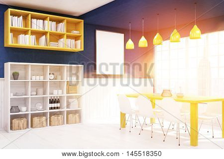 Interior of living and dining room with poster panoramic window with New York City view and table with chairs. Concept of comfy place to live. 3d rendering. Mockup. Toned image.