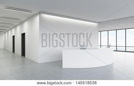Reception Desk In Office Corridor