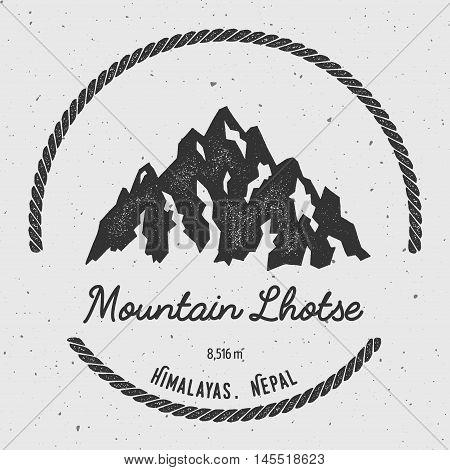 Lhotse In Himalayas, Nepal Outdoor Adventure Logo. Round Hiking Vector Insignia. Climbing, Trekking,