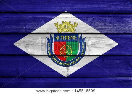 Flag Of Sao Caetano, Sao Paulo, Brazil, Painted On Old Wood Plank Background