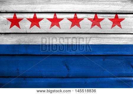 Flag Of Sao Joao Da Barra, Rio De Janeiro State, Brazil, Painted On Old Wood Plank Background