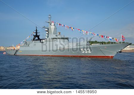 SAINT PETERSBURG, RUSSIA - JULY 28, 2016: Missile corvette