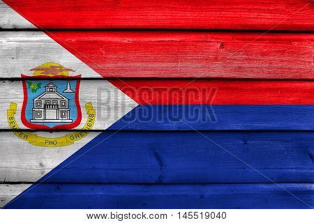 Flag Of Sint Maarten, Painted On Old Wood Plank Background