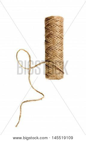 Spool of natural twine or rope isolated on white background.