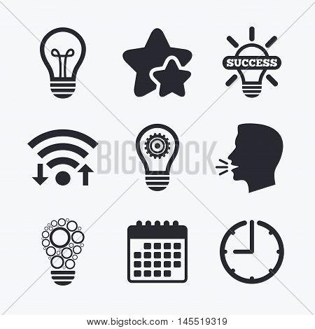 Light lamp icons. Circles lamp bulb symbols. Energy saving with cogwheel gear. Idea and success sign. Wifi internet, favorite stars, calendar and clock. Talking head. Vector