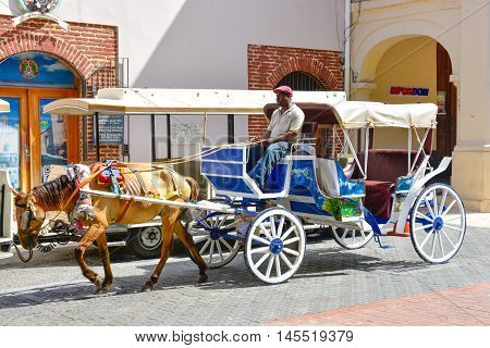 SANTO DOMINGO, DOMINICAN REPUBLIC - JANUARY 24, 2016: A man, unidentified, driving a horse-drawn carriage in the Colonial Zone near the Columbus Park.