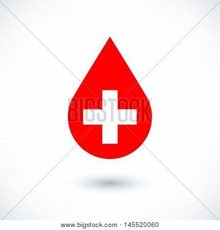 Donate drop blood red sign with white plus with gray long shadow in simple flat style. Graphic design elements vector illustration save in 8 eps