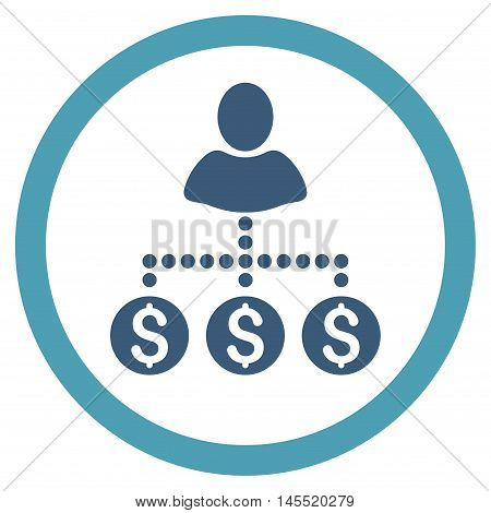 User Payments vector bicolor rounded icon. Image style is a flat icon symbol inside a circle, cyan and blue colors, white background.