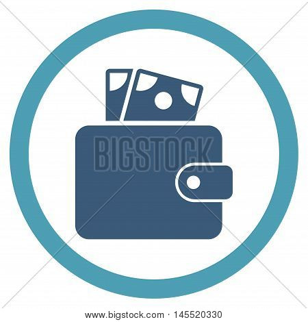 Wallet vector bicolor rounded icon. Image style is a flat icon symbol inside a circle, cyan and blue colors, white background.
