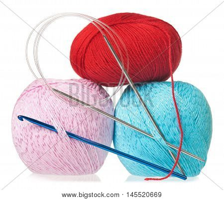 Acrylic threads with spokes and hook for knitting isolated on white background