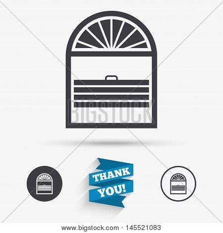 Louvers plisse sign icon. Window blinds or jalousie symbol. Flat icons. Buttons with icons. Thank you ribbon. Vector