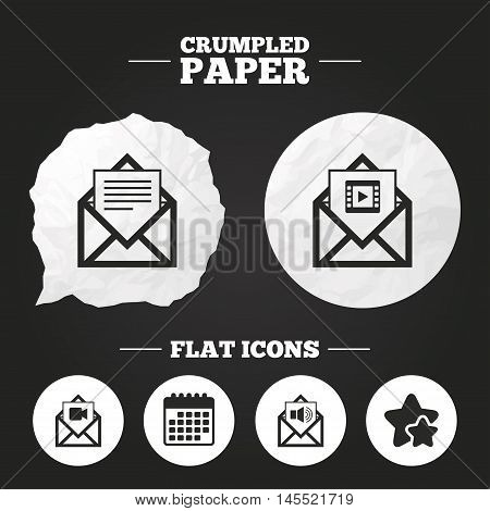 Crumpled paper speech bubble. Mail envelope icons. Message document symbols. Video and Audio voice message signs. Paper button. Vector