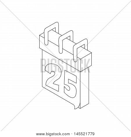 Paper december calender icon in outline style isolated on white background
