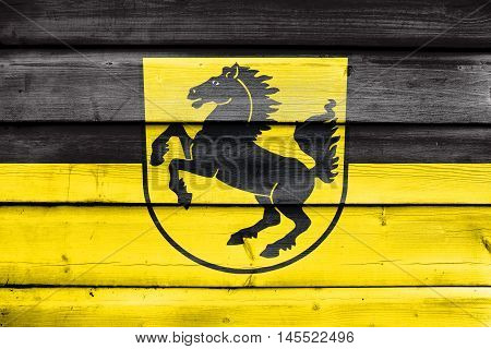 Flag Of Stuttgart With Coat Of Arms, Germany, Painted On Old Wood Plank Background