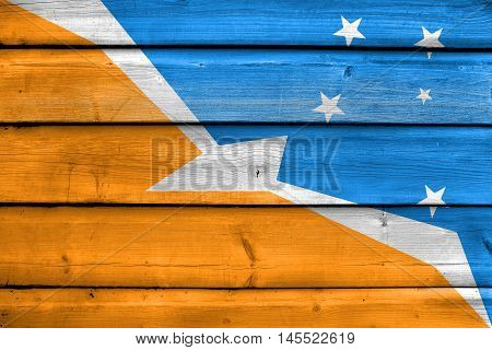 Flag Of Tierra Del Fuego Province, Argentina, Painted On Old Wood Plank Background