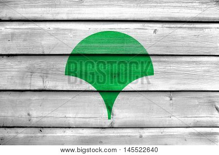 Flag Of Tokyo Metropolis (symbol), Japan, Painted On Old Wood Plank Background