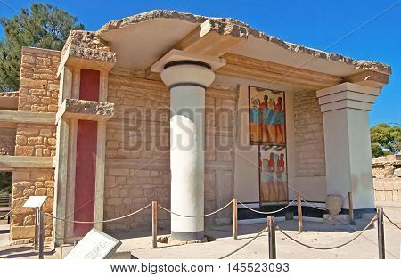 South Propylaeon at the Knossos palace on the Crete island in Greece. Knossos is the largest Bronze Age archaeological site on Crete and is Europe's oldest city