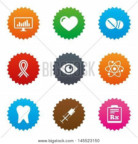 Medicine, medical health and diagnosis icons. Syringe injection, heart and pills signs. Tooth, awareness ribbon symbols. Stars label button with flat icons. Vector