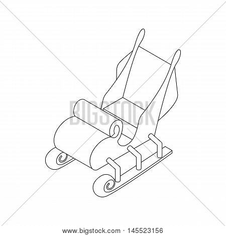 Christmas sleigh of Santa Claus icon in outline style isolated on white background