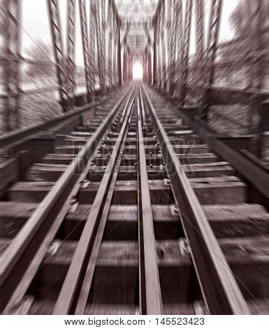 Railroad bridge in thailand Sepia color effect vintage style Radial Blur