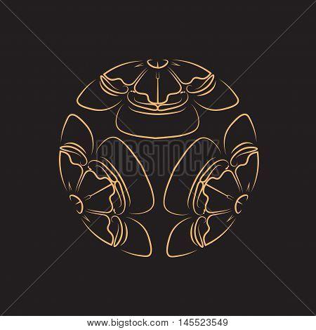 Golden Flower of melon on black background, tattoo, a symbol of survival in Japan. Vector illustration