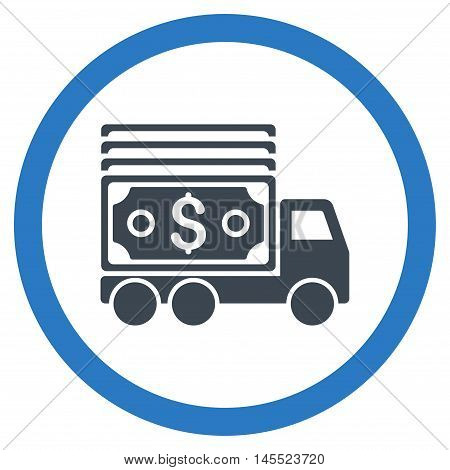 Cash Lorry vector bicolor rounded icon. Image style is a flat icon symbol inside a circle, smooth blue colors, white background.