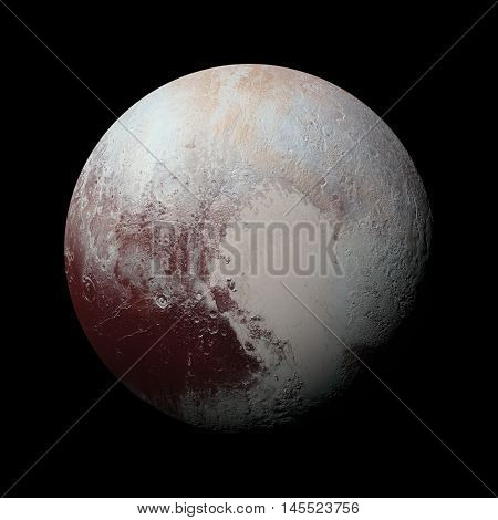 Solar System - Pluto. Isolated planet on black background. Elements of this image furnished by NASA