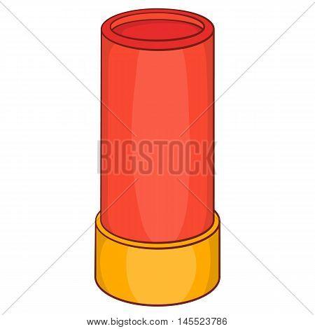Shotgun shell icon in cartoon style on a white background