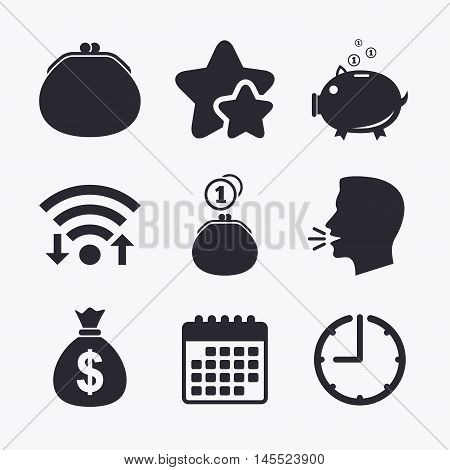 Wallet with cash coin and piggy bank moneybox symbols. Dollar USD currency sign. Wifi internet, favorite stars, calendar and clock. Talking head. Vector