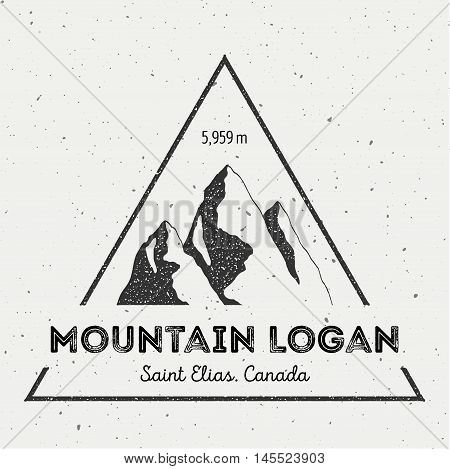 Logan In Saint Elias, Canada Outdoor Adventure Logo. Triangular Mountain Vector Insignia. Climbing,