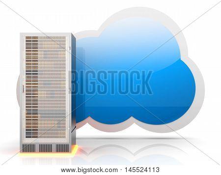 Server cloud computing. A 3D rendered illustration.