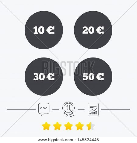 Money in Euro icons. 10, 20, 30 and 50 EUR symbols. Money signs Chat, award medal and report linear icons. Star vote ranking. Vector