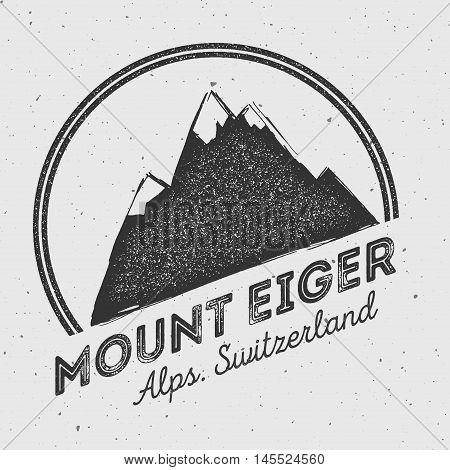 Eiger In Alps, Switzerland Outdoor Adventure Logo. Round Mountain Vector Insignia. Climbing, Trekkin