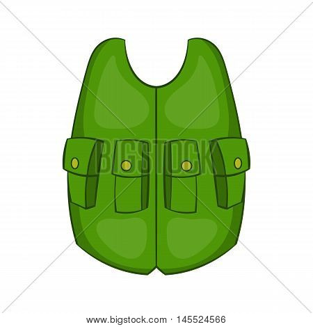 Green hunter vest icon in cartoon style on a white background