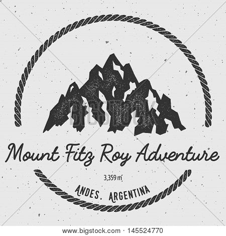Fitz Roy In Andes, Chile Outdoor Adventure Logo. Round Hiking Vector Insignia. Climbing, Trekking, H