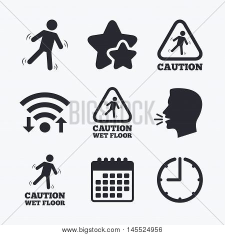 Caution wet floor icons. Human falling triangle symbol. Slippery surface sign. Wifi internet, favorite stars, calendar and clock. Talking head. Vector