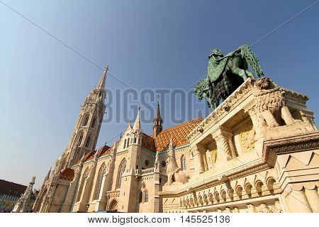 The Matthias Church in the Fisher Bastion in Budapest Hungary Europe.