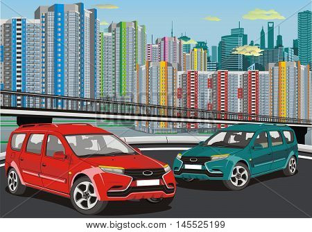 Urban landscape - the modern car on the background of the metropolis. Vector illustration