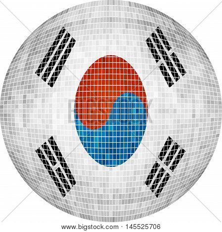 Ball with Korea flag - Illustration,  Sphere South Korea flag vector,   Abstract Grunge Mosaic flag of South Korea