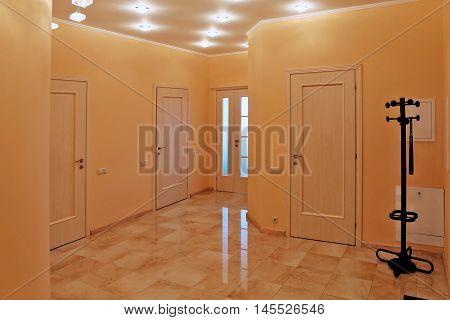 Interior design entrance hall in a studio apartment in a modern minimalist style.