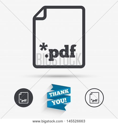 PDF file document icon. Download pdf button. PDF file extension symbol. Flat icons. Buttons with icons. Thank you ribbon. Vector