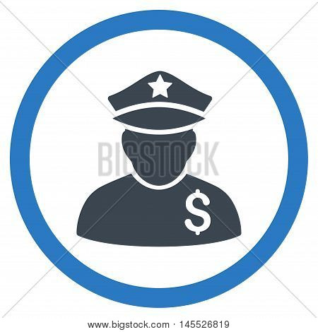 Financial Policeman vector bicolor rounded icon. Image style is a flat icon symbol inside a circle, smooth blue colors, white background.