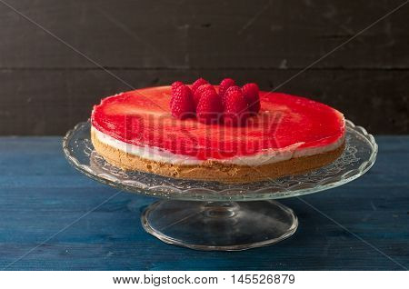 Fantastic cheesecake with cottage cheese fresh cheese and cream of raspberriesitaly