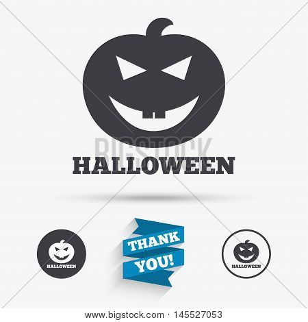 Halloween pumpkin sign icon. Halloween party symbol. Flat icons. Buttons with icons. Thank you ribbon. Vector